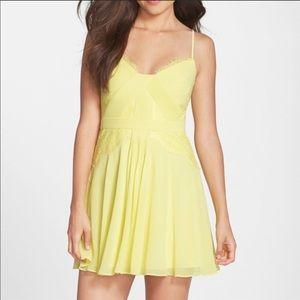 Katarina yellow bcbg lace detail dress